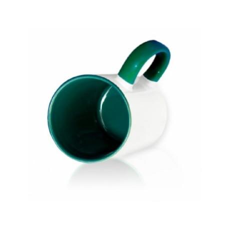 Кружка цветная внутри + цветная ручка темно-зеленая